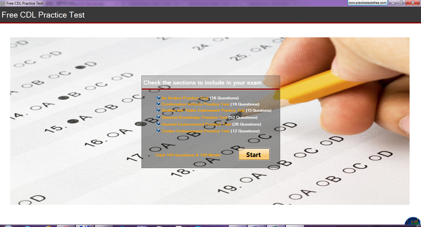 Click to view Free CDL Practice Test screenshots
