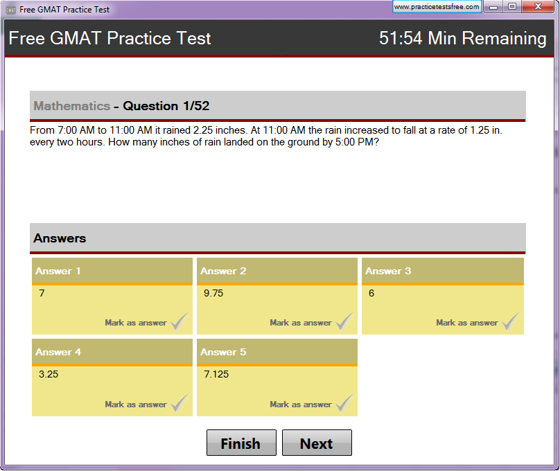 Free GMAT Practice Test Screen shot