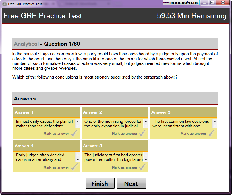 Free GRE Practice Test Screen shot