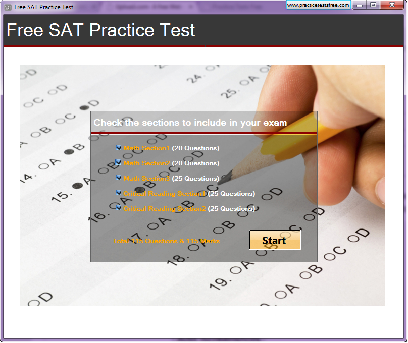 Click to view Free SAT Practice Test screenshots