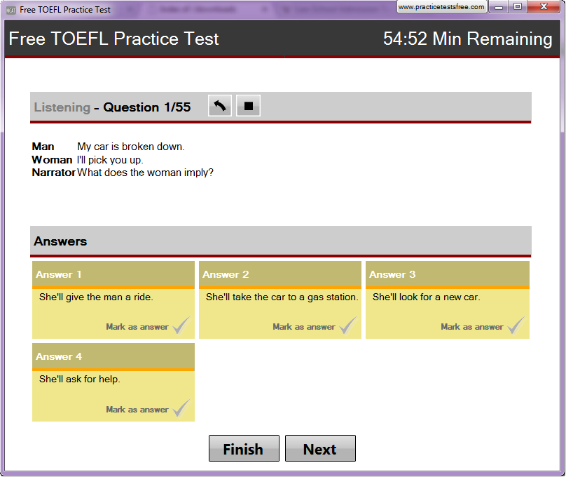 Free TOEFL Practice Test Screen shot